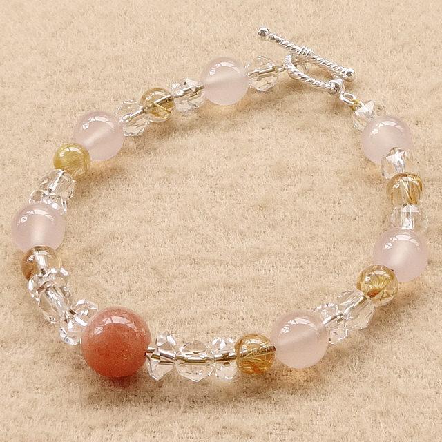 オレンジムーンストーン(高品質)xタイチンルチルクォーツxピンクカルセドニーx水晶