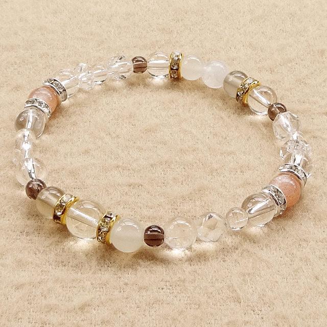 ゴールデンムーンストーン(宝石質)xレインボームーンストーンなど|負のエネルギーを正のエネルギーへと変換する|ブレスレット
