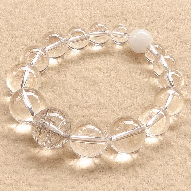 シルバールチルクォーツ(大粒・銀針水晶)xアゼツライトxブラジル産天然水晶