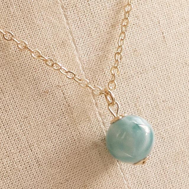ラリマー(高品質) 世界三大ヒーリングストーンの中で最も人気のある希少石 Simpleネックレス ドミニカ共和国からの贈り物