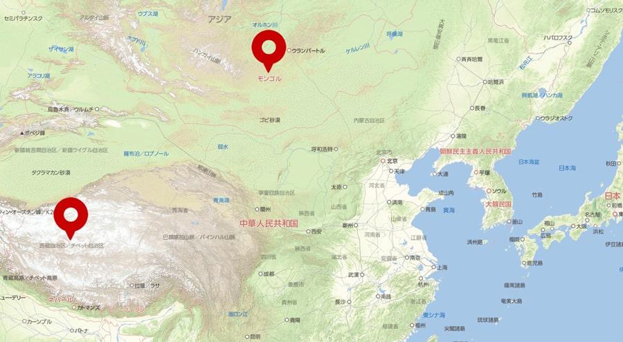 チベット・モンゴル 地図