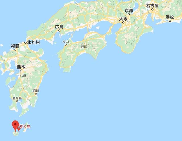 屋久島の場所(地図)