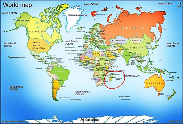 マダガスカルの世界地図